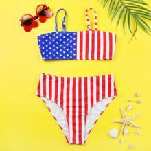 Bañador bikini de cintura alta con estampado de bandera estadounidense