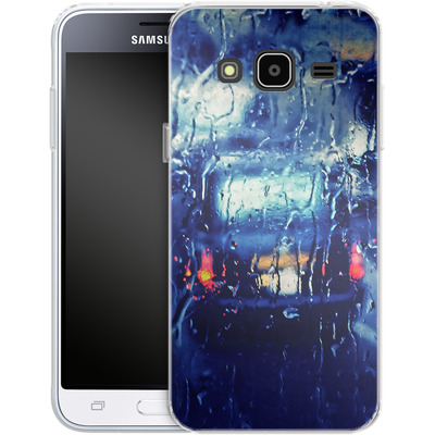 Samsung Galaxy J3 (2016) Silikon Handyhuelle - London Taxi In The Rain von Ronya Galka