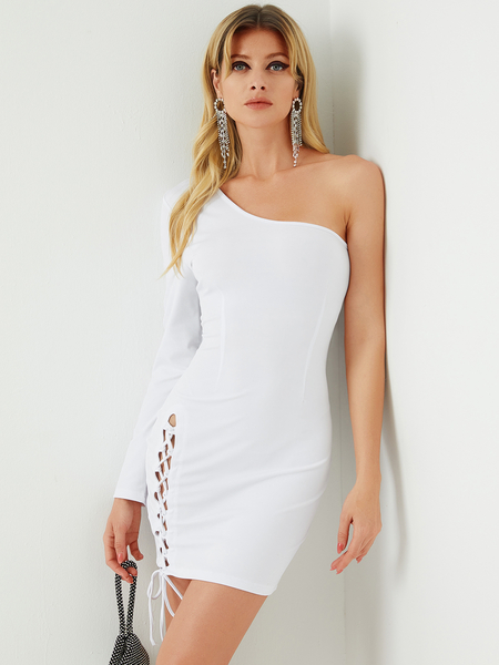 YOINS White Criss-cross Lace-up Design One Shoulder Long Sleeves Dress