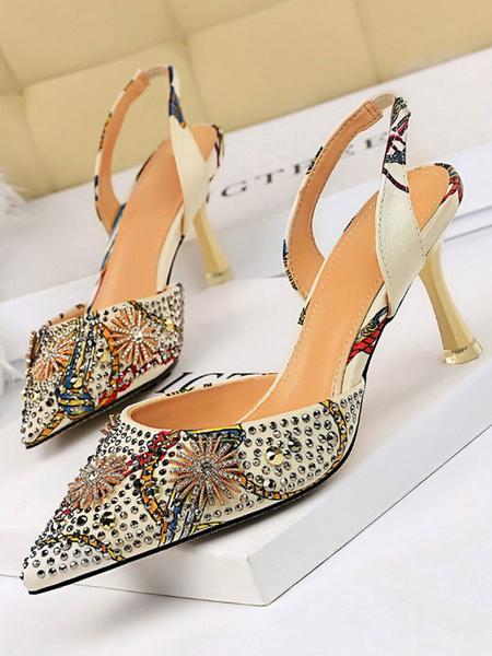 Milanoo Sling Back Pumps Tacones altos Saten Punta puntiaguda Tacon de aguja Zapatos de mujer