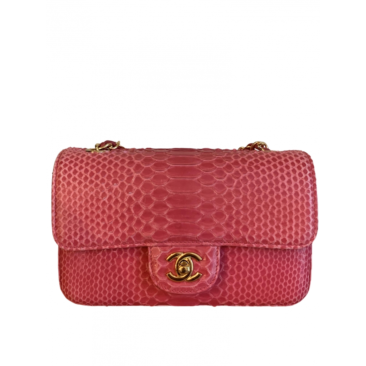 Chanel Timeless/Classique Handtasche in  Rosa Python