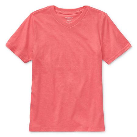 Arizona Little & Big Boys V Neck Short Sleeve T-Shirt, Small (8) , Red