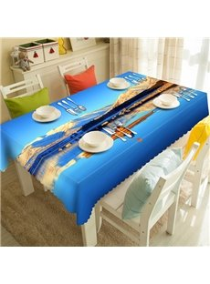 Blue Polyester Natural Scenery Pattern Tablecloth