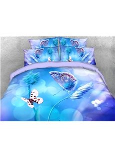 Blue Butterflies Machine Washable Soft Lightweight Warm 3D Printed 5-Piece Comforter Sets