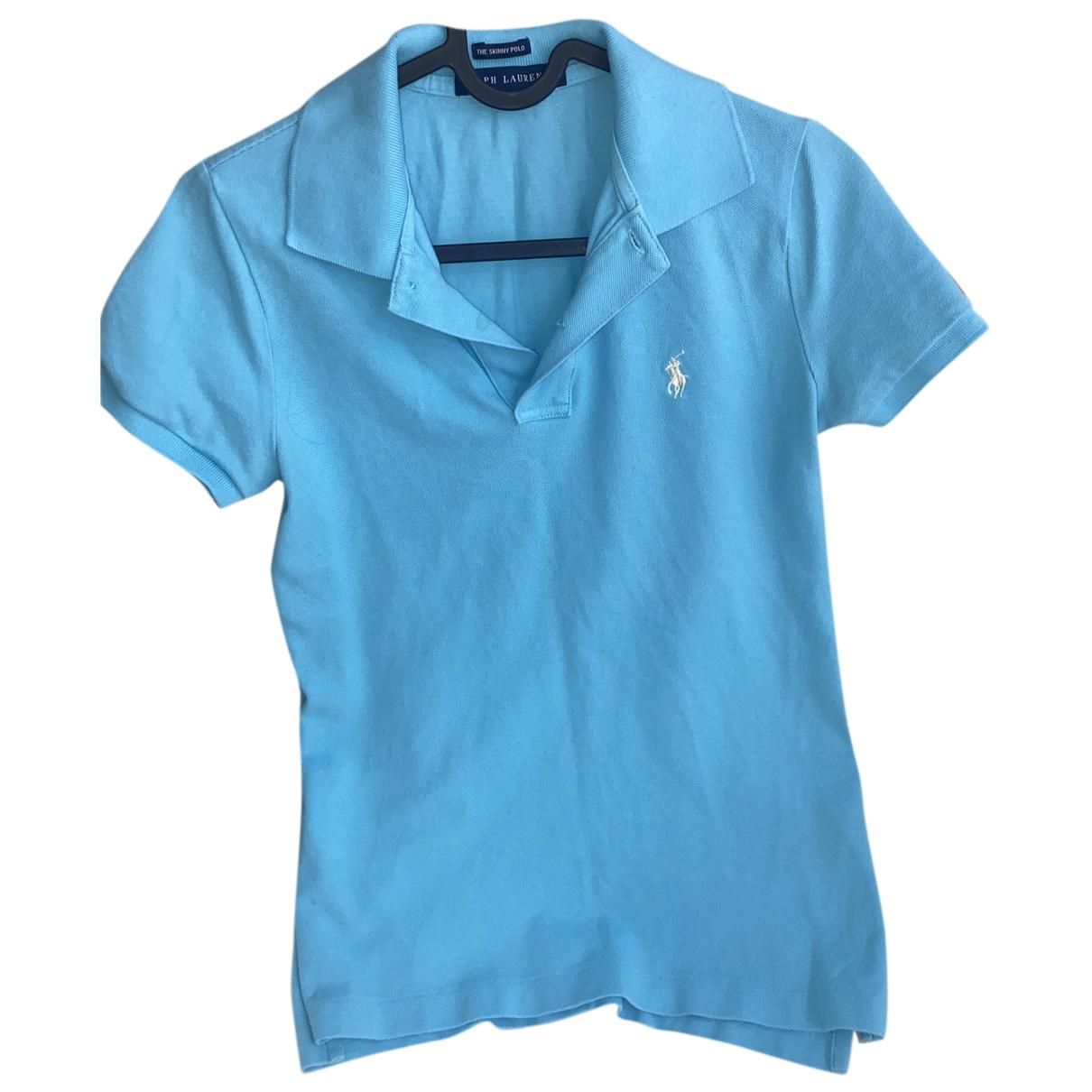 Polo Ralph Lauren - Top Polo ajuste manches courtes pour femme en coton - bleu