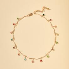 Colorful Rhinestone Decor Necklace
