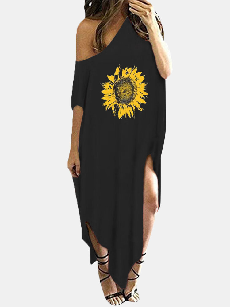 Floral Printed O-neck Short Sleeve Slit Dress