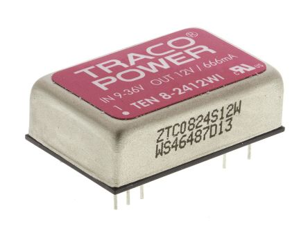 TRACOPOWER TEN 8WI 8W Isolated DC-DC Converter Through Hole, Voltage in 9 → 36 V dc, Voltage out 12V dc Railway