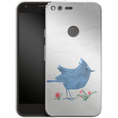 Google Pixel XL Silikon Handyhuelle - Watercolour Bird White von caseable Designs
