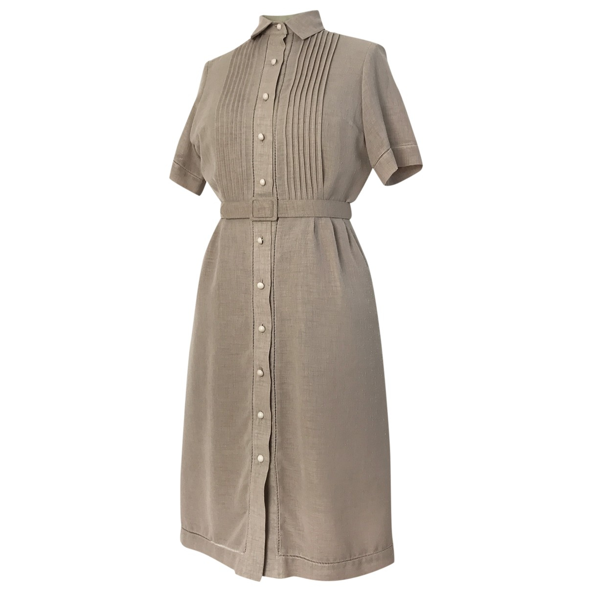 Non Signé / Unsigned Hippie Chic Beige Linen dress for Women 36 FR
