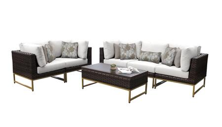 Barcelona BARCELONA-06m-GLD-WHITE 6-Piece Patio Set 06m with 4 Corner Chairs  1 Armless Chair and 1 Coffee Table - Beige and Sail White Covers with