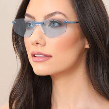 Metal Thin Rimless Rectangle Sunglasses
