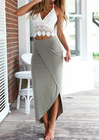 Lace Camisole + Long Skirt Outfit - Gray