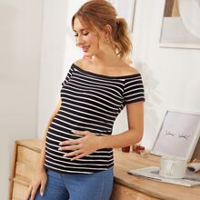Maternity Off Shoulder Striped Tee