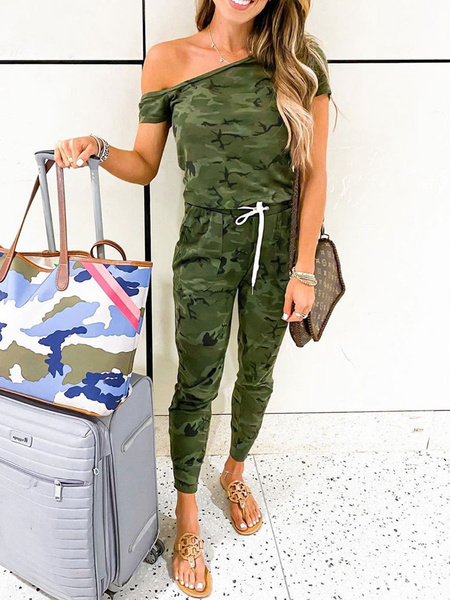 Milanoo Hunter Green Camouflage Bateau Neck mangas cortas Skinny Summer One Piece Outfit