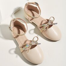 Toddler Girls Holographic Detail Bow Decor Flats
