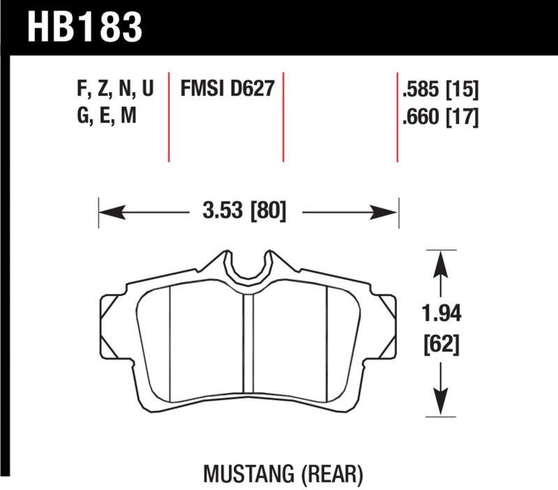 Hawk Performance HB183N.660 Disc Brake Pad Ford Mustang Rear 1994-2004