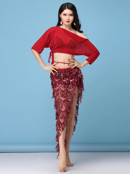 Milanoo Belly Dance Costume Sequin Skirt Top Women Belly Dancing Wear Halloween