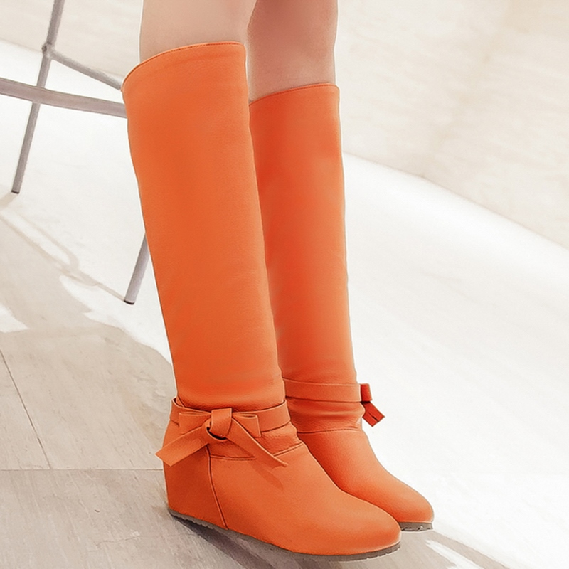 Ericdress PU Bowknot Elevator Heel Knee High Boots