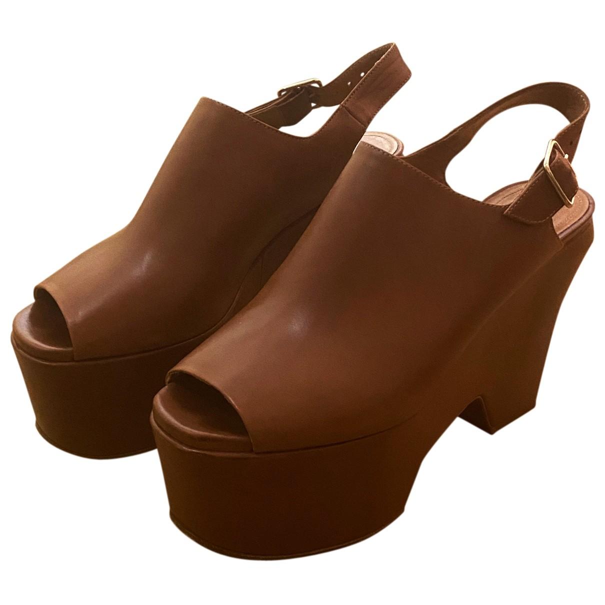 Dries Van Noten N Camel Leather Sandals for Women 38 EU