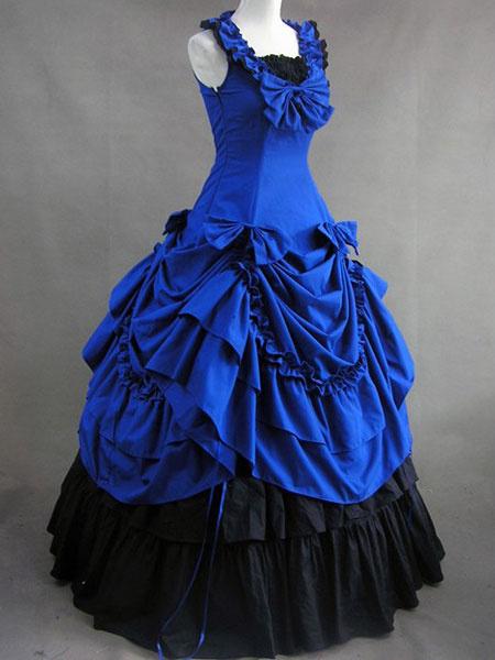 Milanoo Disfraz Halloween Traje azul de lolita de algodon con escote cuadrado y volante fruncido de estilo clasico  Halloween