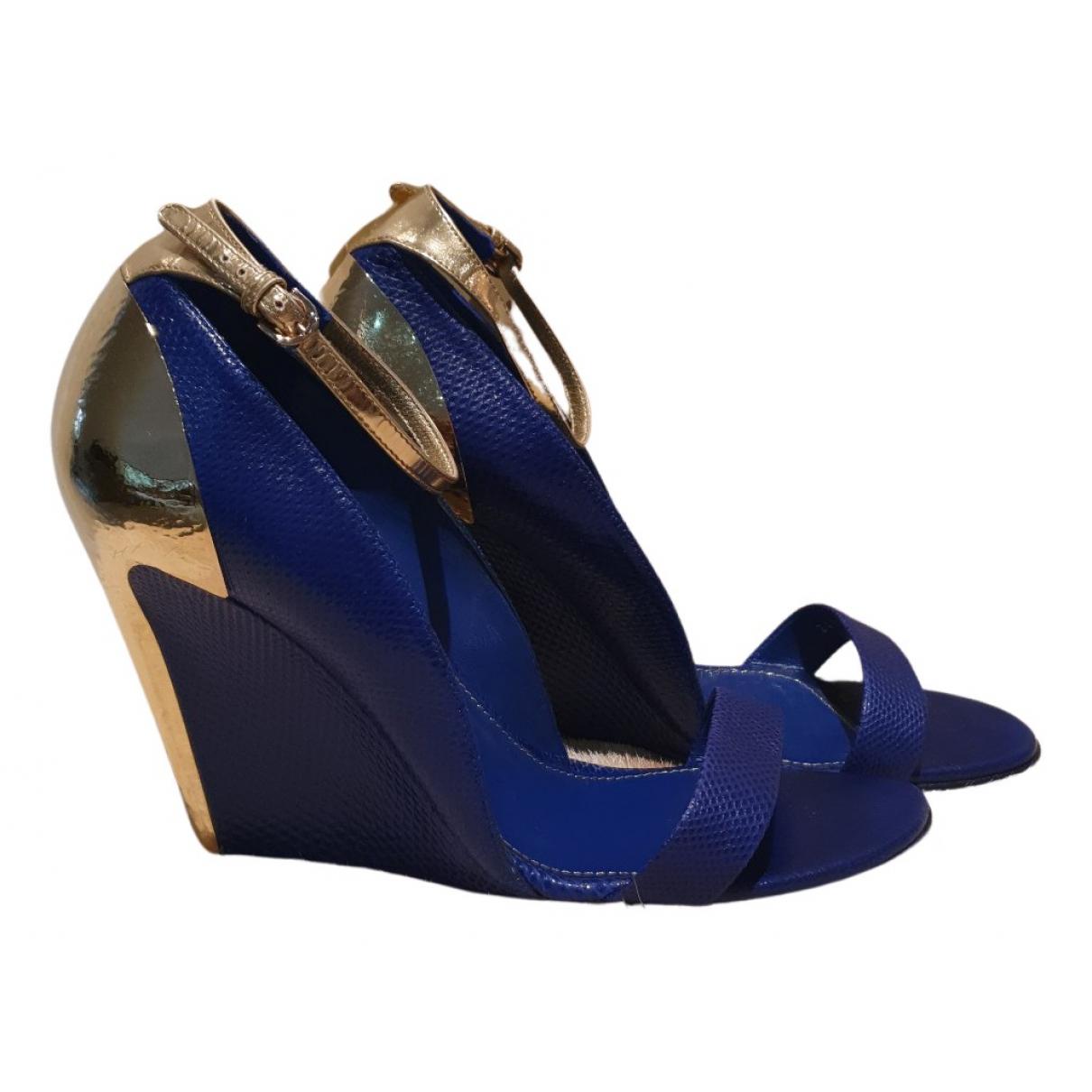 Sergio Rossi - Sandales   pour femme en cuir - bleu