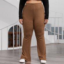 Plus Split Hem Cable Knit Pants