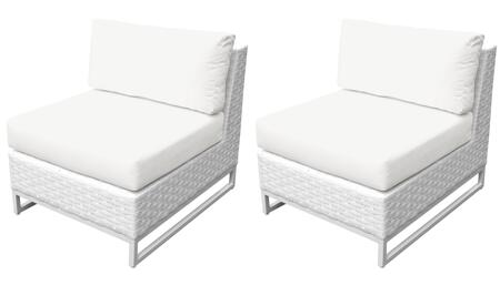 Miami TKC047b-AS-DB-WHITE Set of 2 Armless Chairs - 2 Sail White