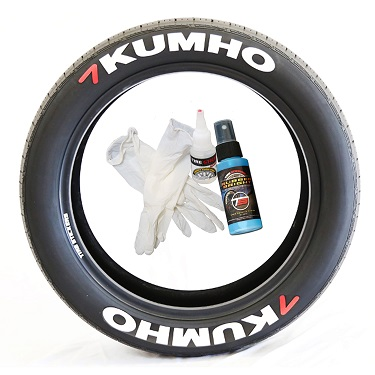 Tire Stickers KUMHO-1921-125-8-B Permanent Raised Rubber Lettering 'Kumho' Logo - 8 of each -  19