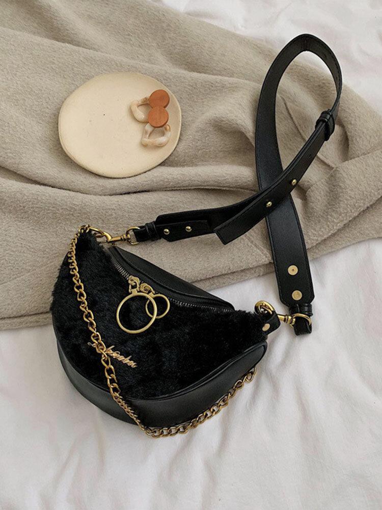 Women Cute Casual Fluffy Crossbody Bag Chest Bag Waist Bag