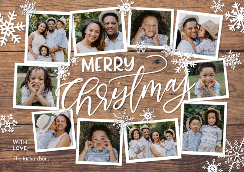 Christmas Photo Cards 5x7 Cards, Standard Cardstock 85lb, Card & Stationery -Christmas Collage Snowflakes by Tumbalina