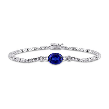 Lab Created Blue Sapphire Sterling Silver 7 Inch Tennis Bracelet, One Size , No Color Family