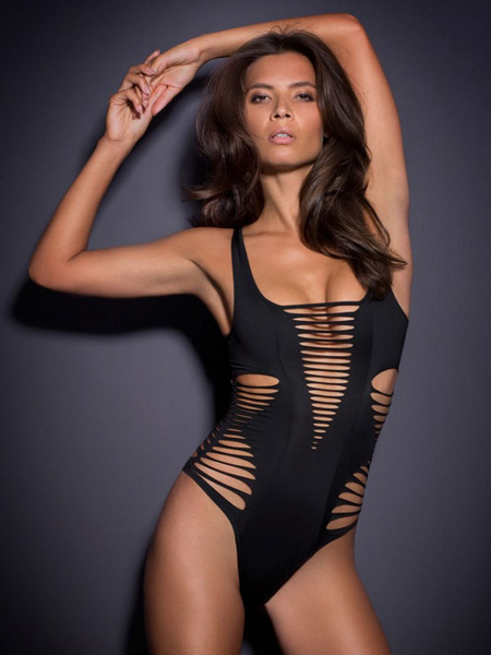 Milanoo Black Monokini Swimsuit Strappy Cut Out Sexy Bathing Suit For Women