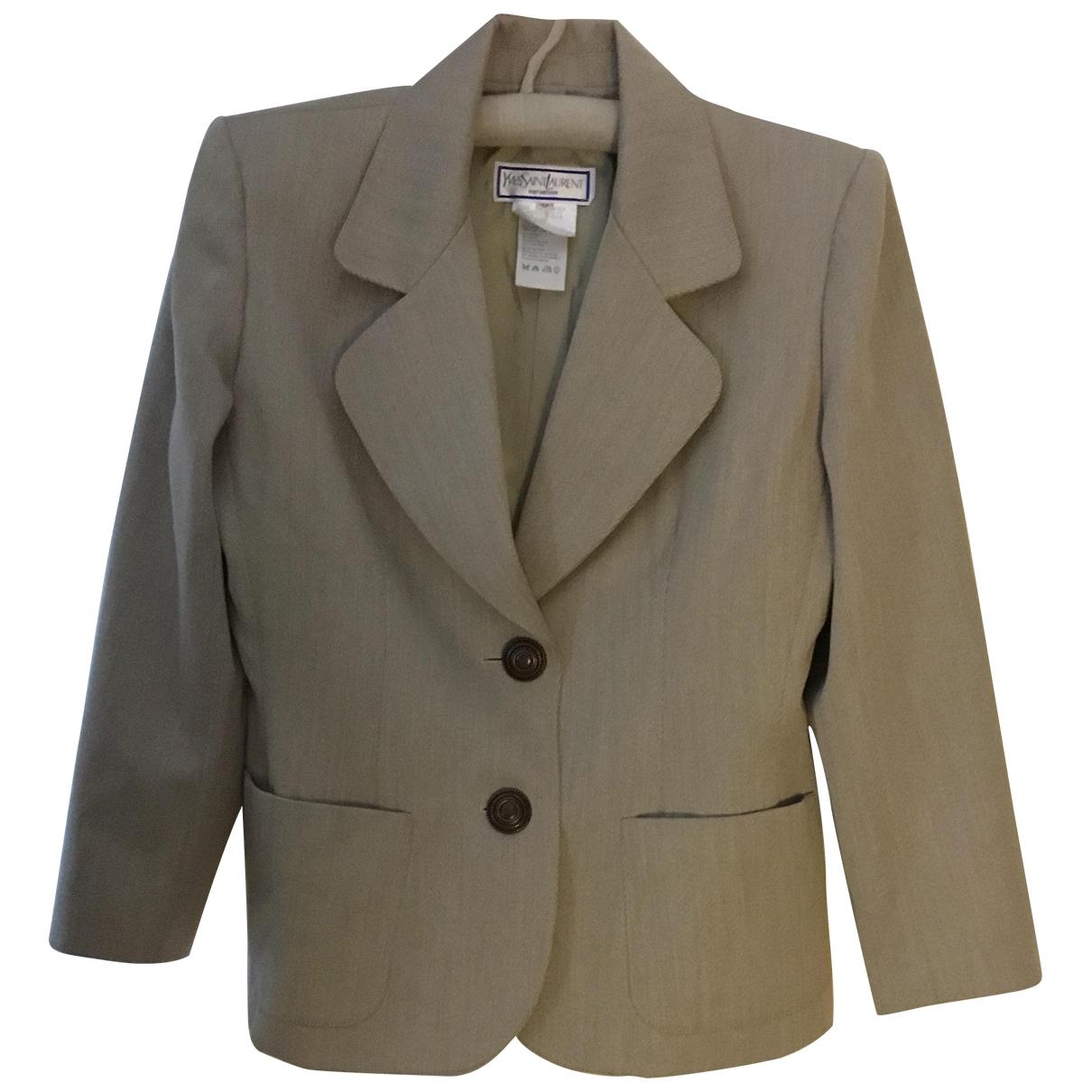 Yves Saint Laurent \N Beige Wool jacket for Women 42 FR