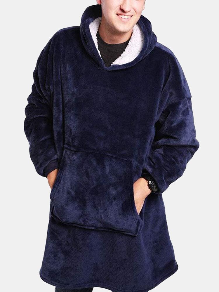 MenThicken Flannel Warm Oversized Hoodie Blanket Sweatshirt Home With Kangaroo Pocket