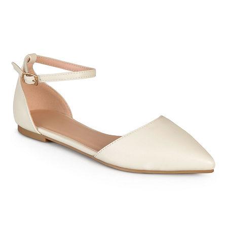 Journee Collection Womens Reba Ankle-Strap Ballet Flats, 6 1/2 Medium, Beige