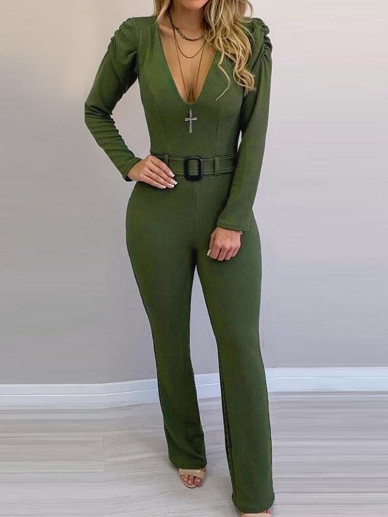 Ericdress Fashion Full Length Zipper Slim Jumpsuit