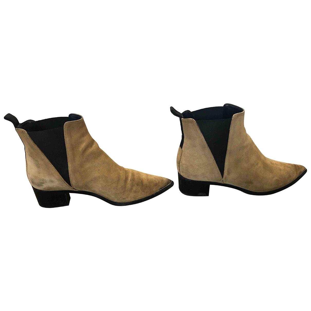 Acne Studios - Boots Jensen / Jenny pour femme en suede - beige