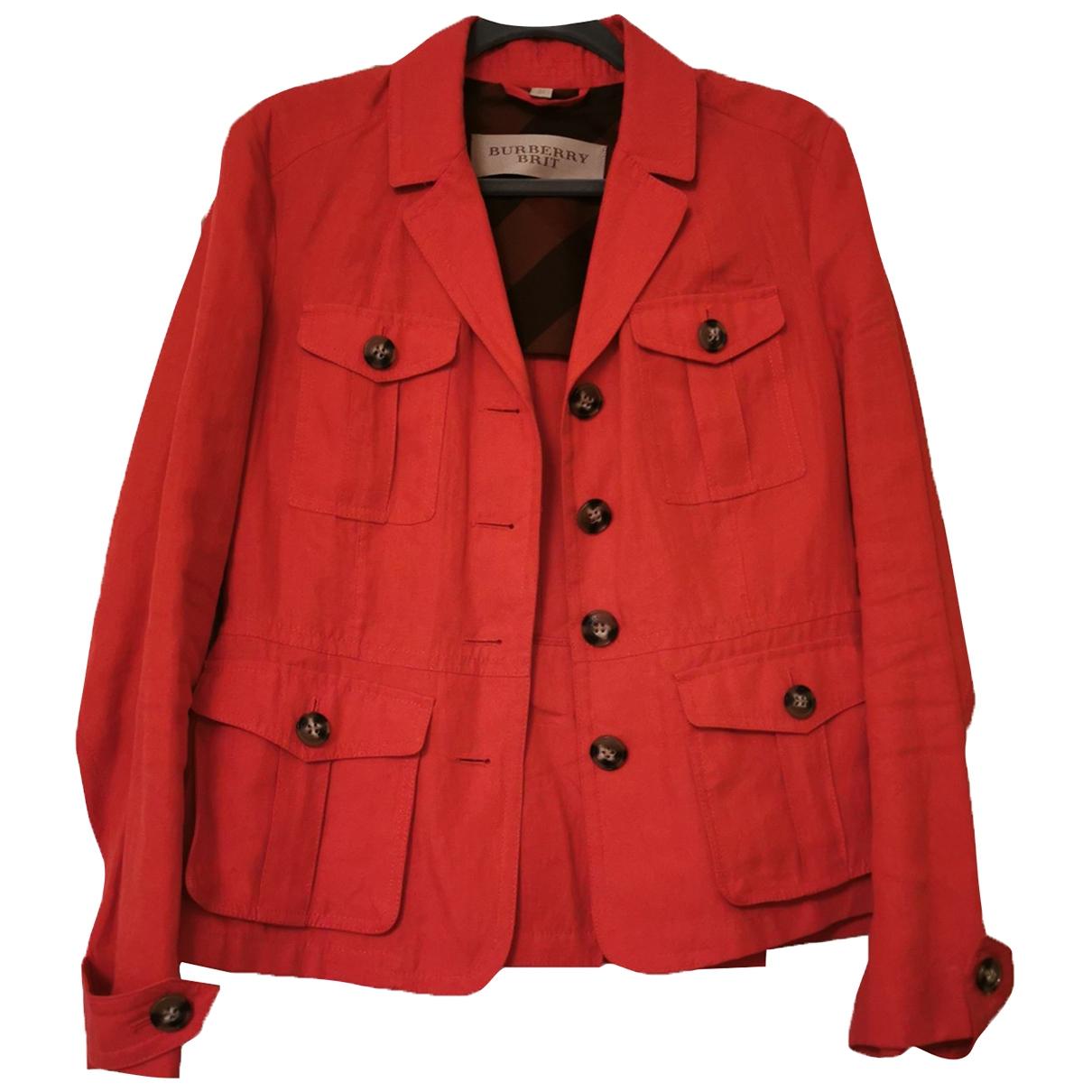 Burberry - Veste   pour femme en coton - rouge