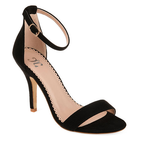 Journee Collection Womens Polly Pumps Buckle Open Toe Stiletto Heel, 7 Medium, Black
