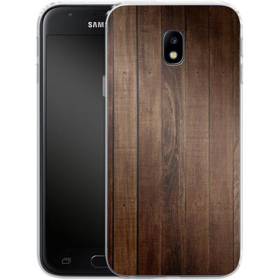 Samsung Galaxy J3 (2017) Silikon Handyhuelle - Dark Wood Floor von caseable Designs