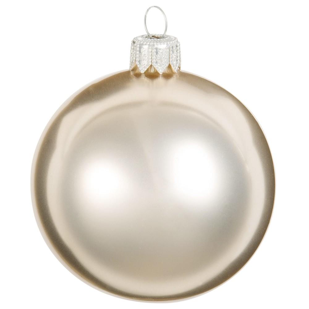 Weihnachtskugel aus Glas, goldfarben und metallic weiss