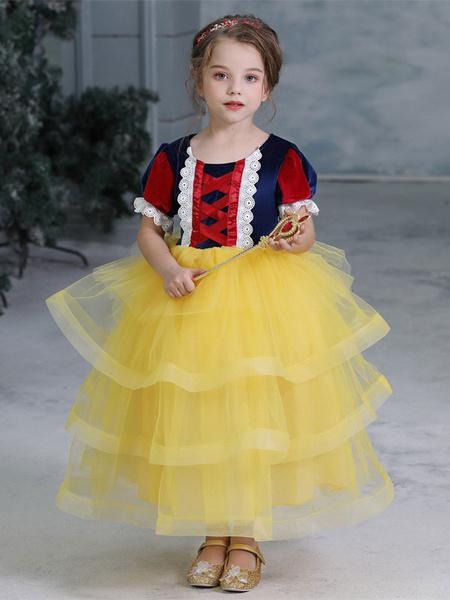 Milanoo Child Halloween Cosplay Costumes Snow White Yellow Dress Kids Princess Outfits