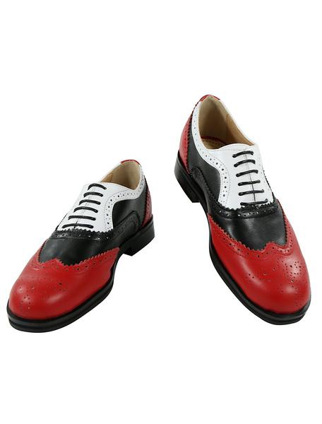Milanoo Zapatos de vestir de tacon gordo de puntera redonda de cuero rojos de color-blocking estilo modernopara hombre Primavera