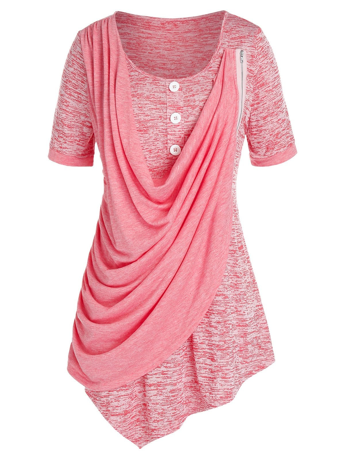 Plus Size Asymmetric Cowl Front Marled T Shirt