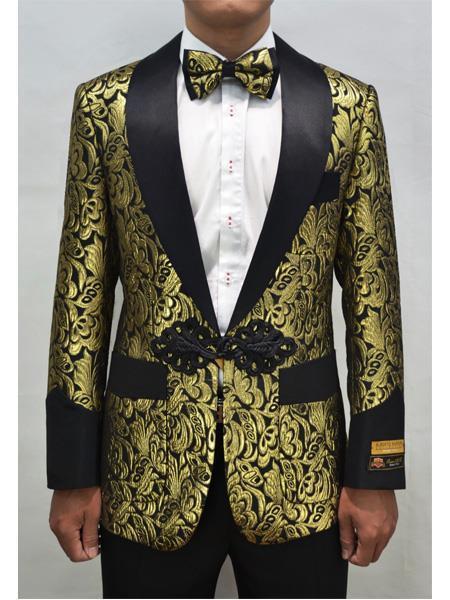 Cheap Mens Printed Flower Jacket Prom modern Tux Gold ~ Black