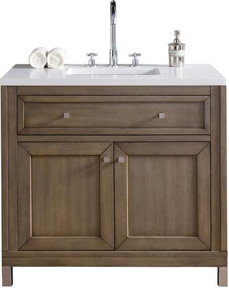 Chicago Collection 305-V36-WWW-3OCAR 36 Single Vanity  Whitewashed Walnut  with 3 CM Carrara White Top with Oval