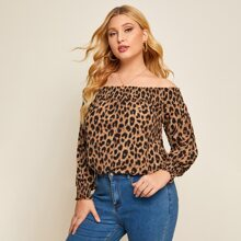 Plus Cheetah Print Bardot Blouse