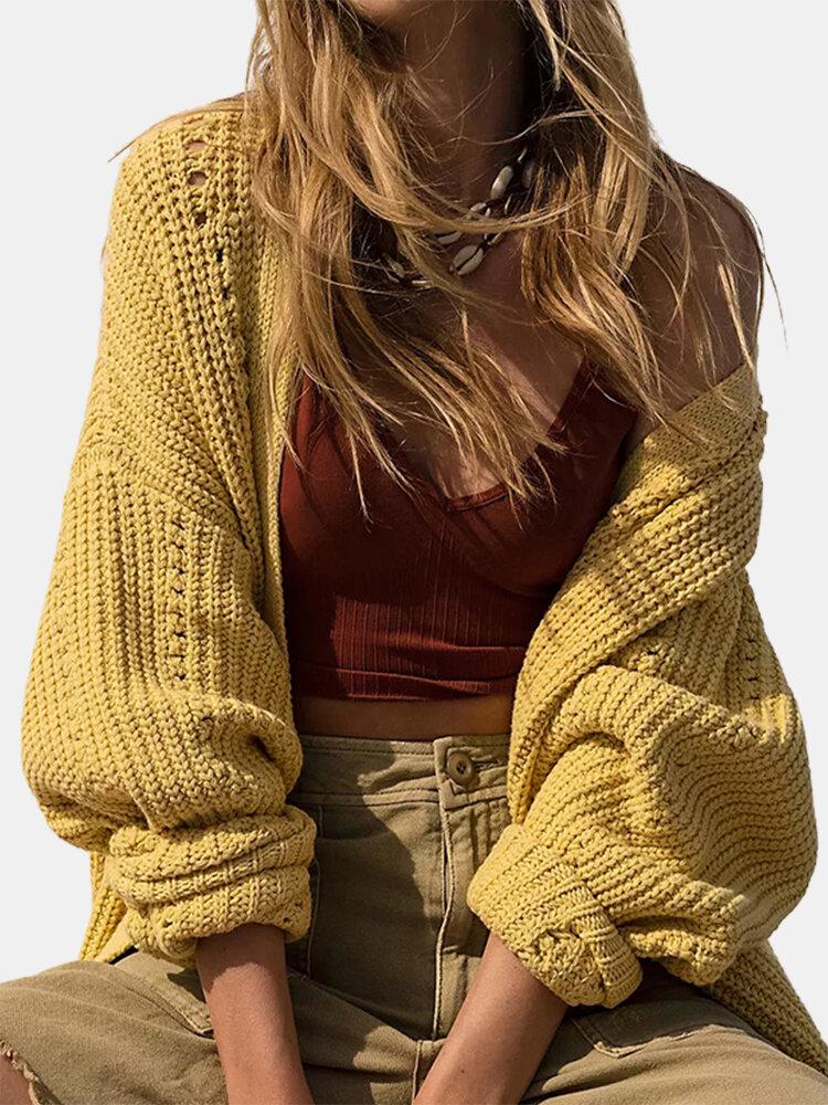 Solid Color Long Sleeve Slit Hem Cardigan For Women