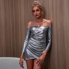 D&M Off Shoulder Ruched Wrap Metallic Dress